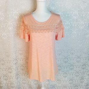 Mittoshop peach top sz S crochet short sleeves